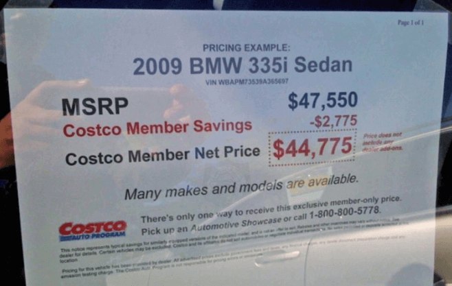 buying a car from costco